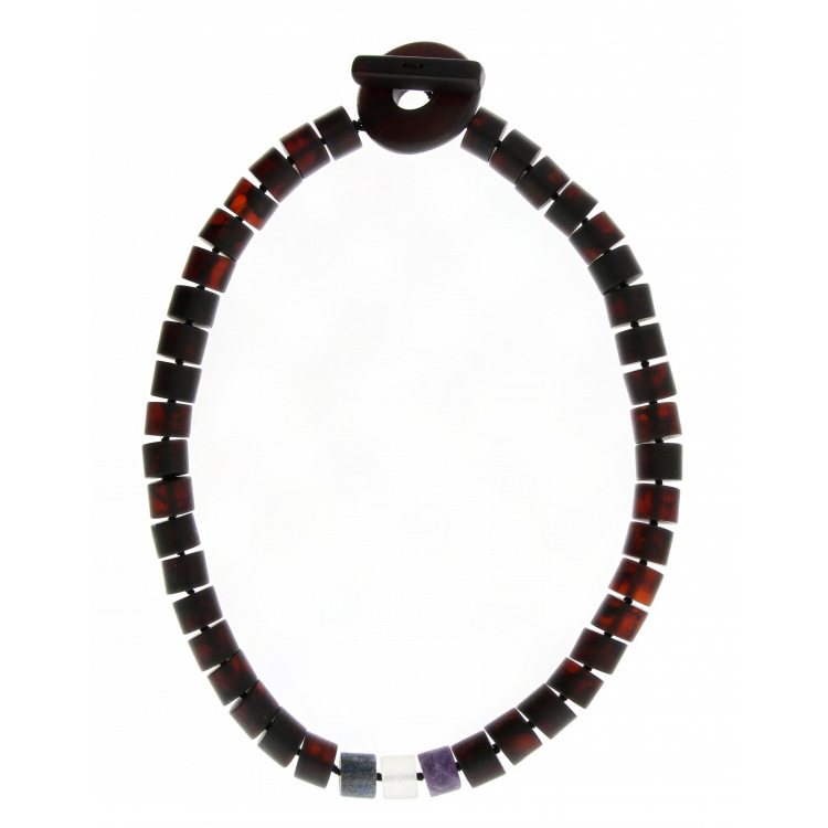 Amber beads with lapis and rock crystal