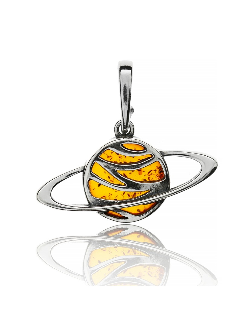Home Pendant planet Saturn with amber - 1