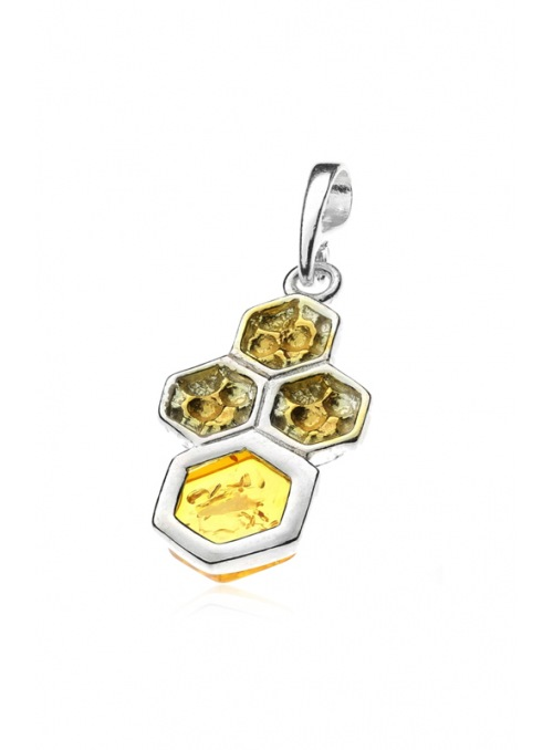 Home Honeycomb pendant with amber - 2