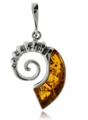 Home Pendant silver ammonite with amber - 1
