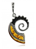 Home Pendant silver ammonite with amber - 3