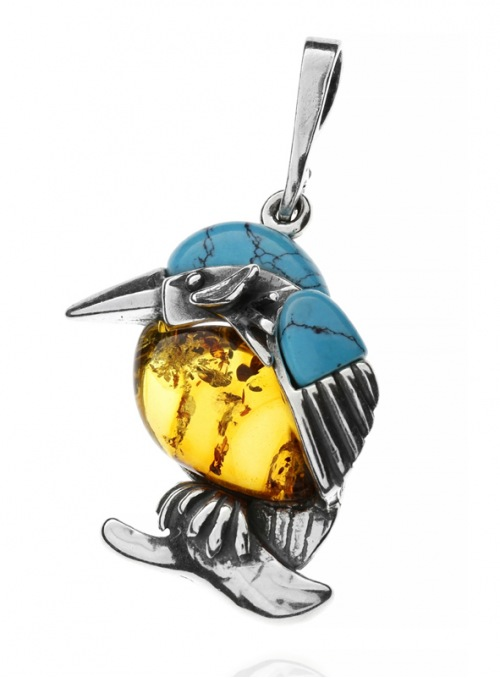 Home Pendant silver kingfisher with amber - 2