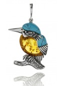 Home Kingfisher pendant with turquoise and amber - 1