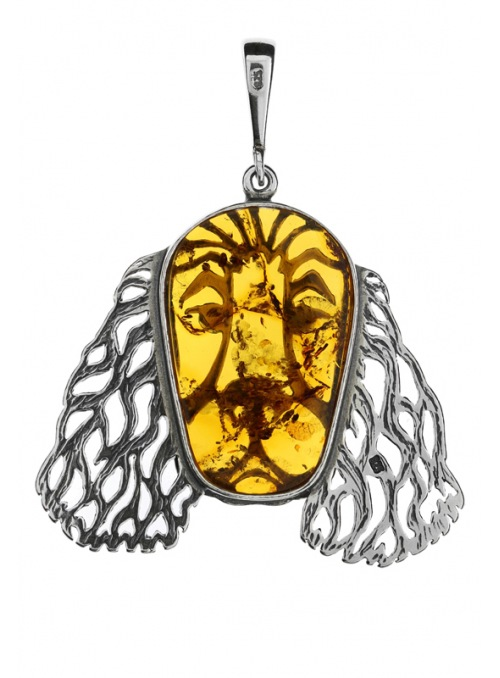 Home Pendant dog with amber - 4