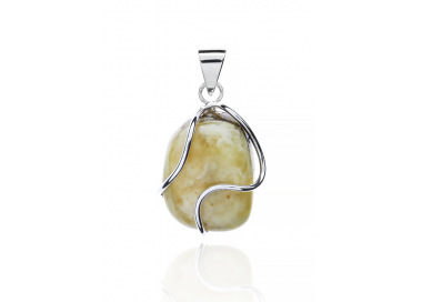 Unique items Pendant with white amber - 1