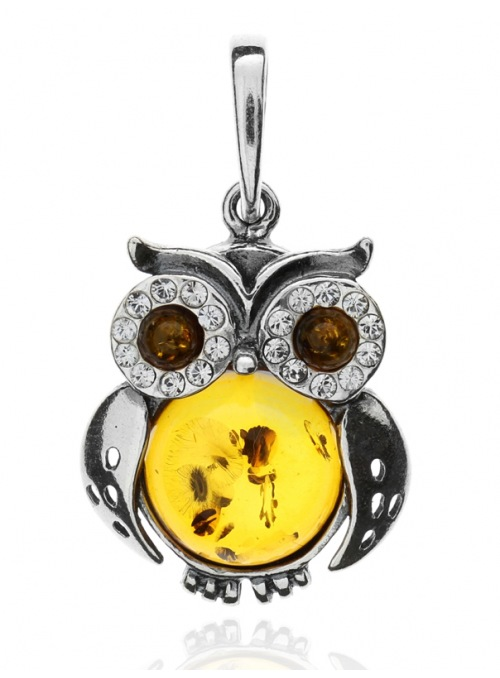 Home Silver owl pendant with amber - 1