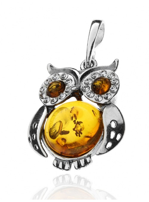 Home Silver owl pendant with amber - 2