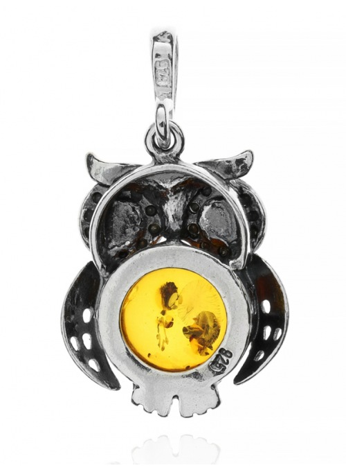Home Silver owl pendant with amber - 3