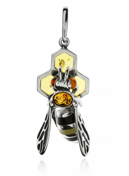Home Silver bee pendant with amber - 1
