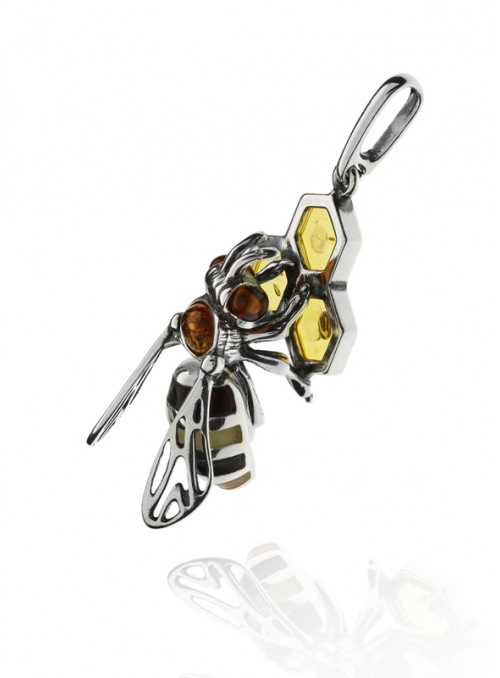 Home Silver bee pendant with amber - 2