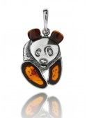 Home Silver panda pendant with amber - 1