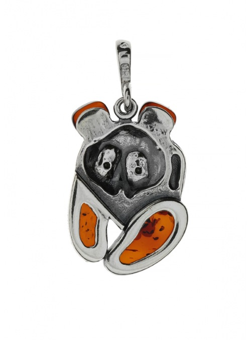 Home Silver panda pendant with amber - 3