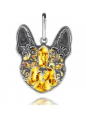 Home Pendant silver bulldog with amber - 1