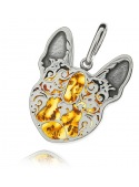 Home Pendant silver bulldog with amber - 2