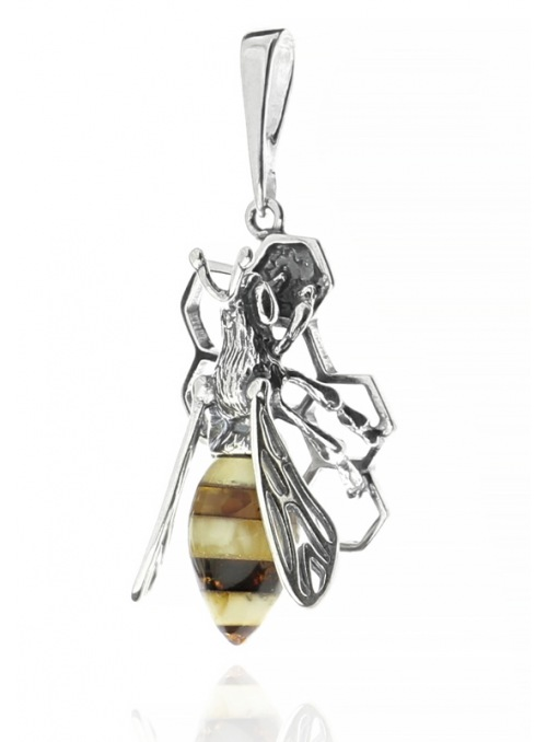 Home Silver bee pendant with amber - 3