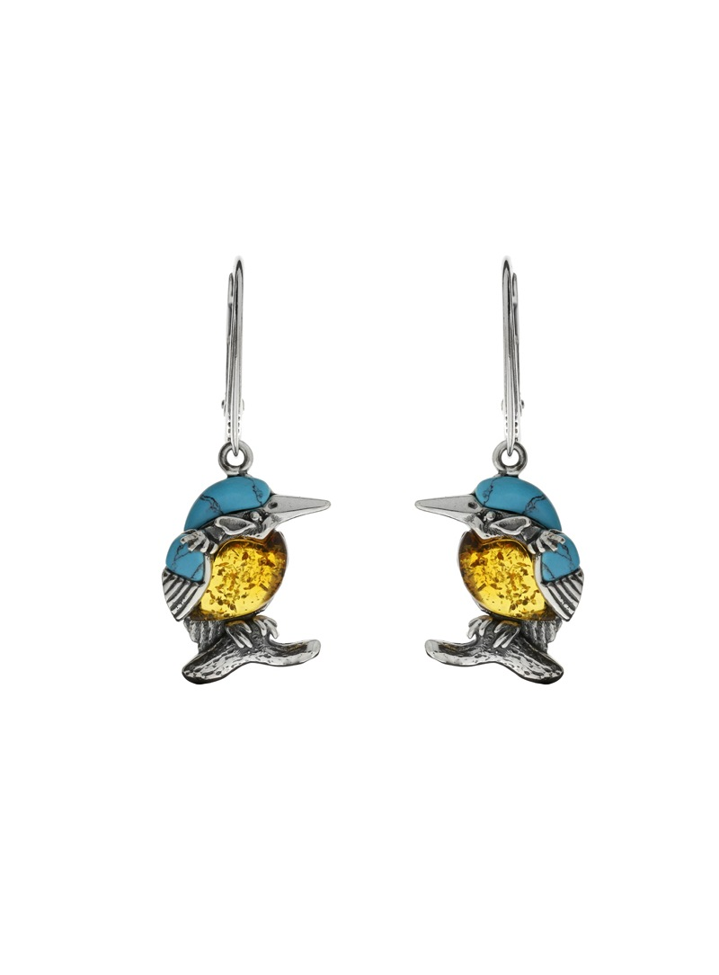 Home Silver kingfisher earrings with amber and turquoise - 1