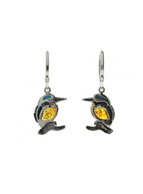 Home Silver kingfisher earrings with amber and turquoise - 3