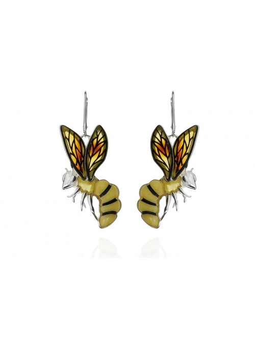 Home Silver wasp earrings with amber - 1