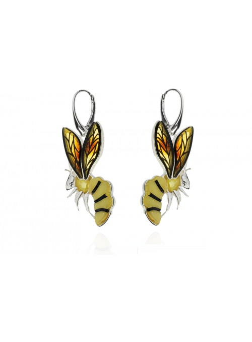 Home Silver wasp earrings with amber - 2