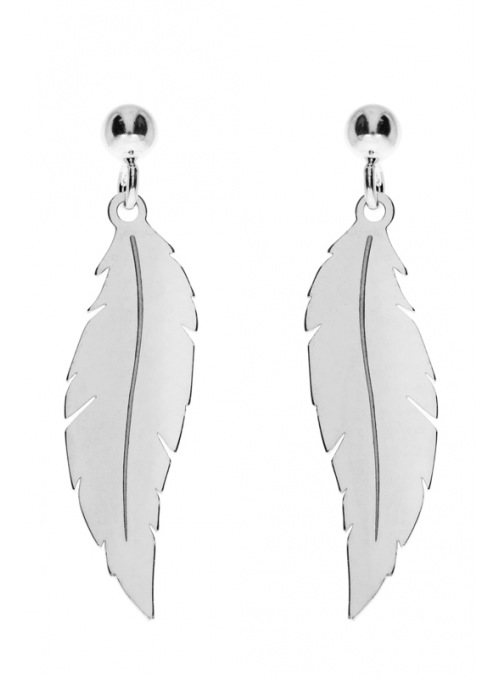 Home Silver feather earrings - 1