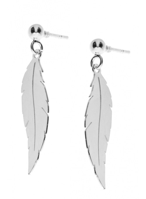 Home Silver feather earrings - 2