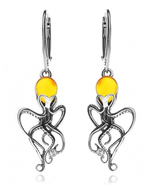 Home Silver octopus earrings with amber - 1