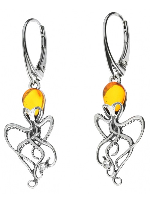 Home Silver octopus earrings with amber - 2