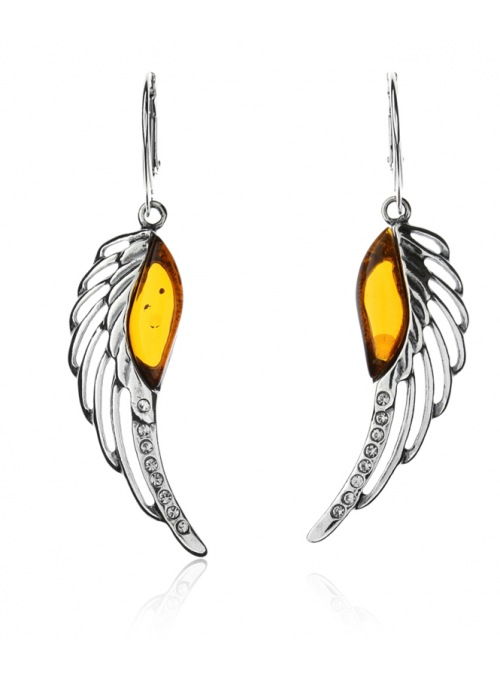 Home Silver wings earrings with amber - 1