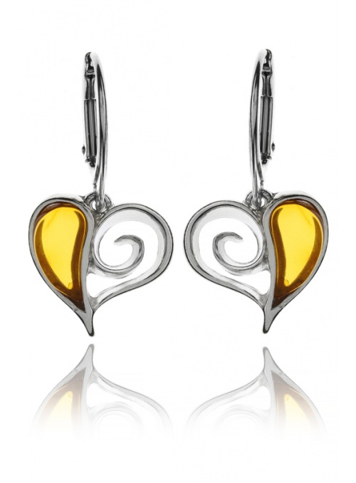 Home Silver heart earrings with amber - 1