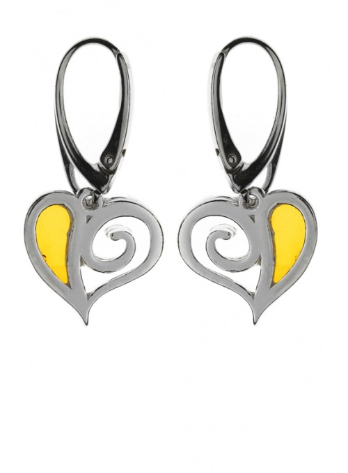 Home Silver heart earrings with amber - 2