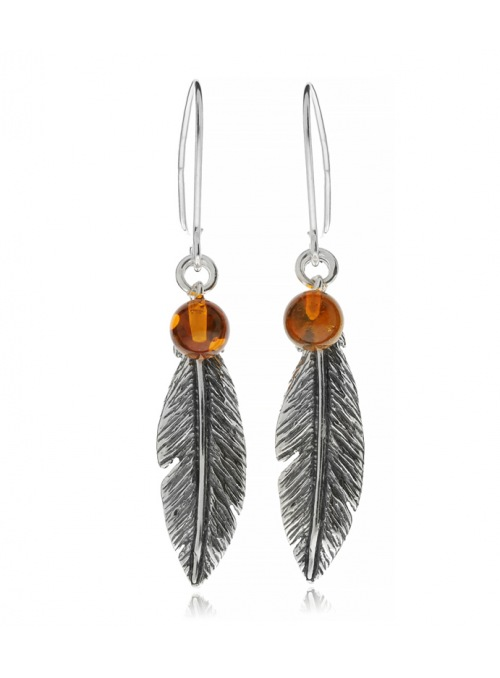 Home Silver feather earrings with amber - 1
