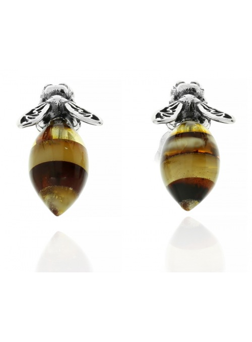 Home Silver bee earrings with amber - 1