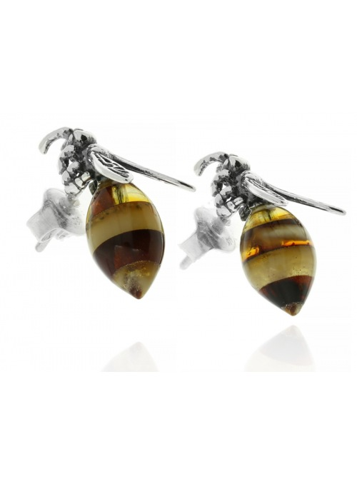 Home Silver bee earrings with amber - 2