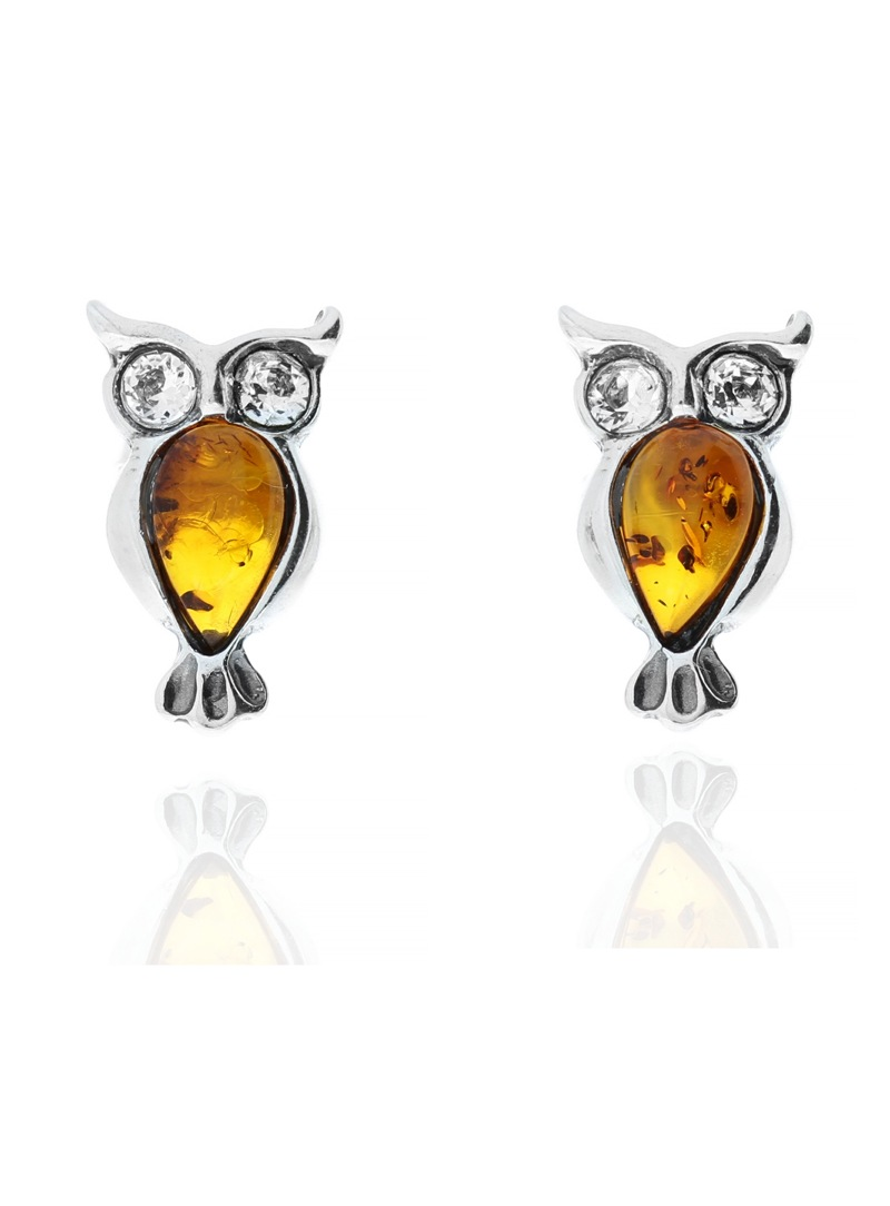 Home Silver owl earrings with amber - 1