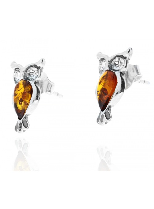 Home Silver owl earrings with amber - 2