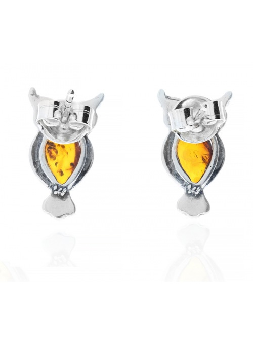 Home Silver owl earrings with amber - 3