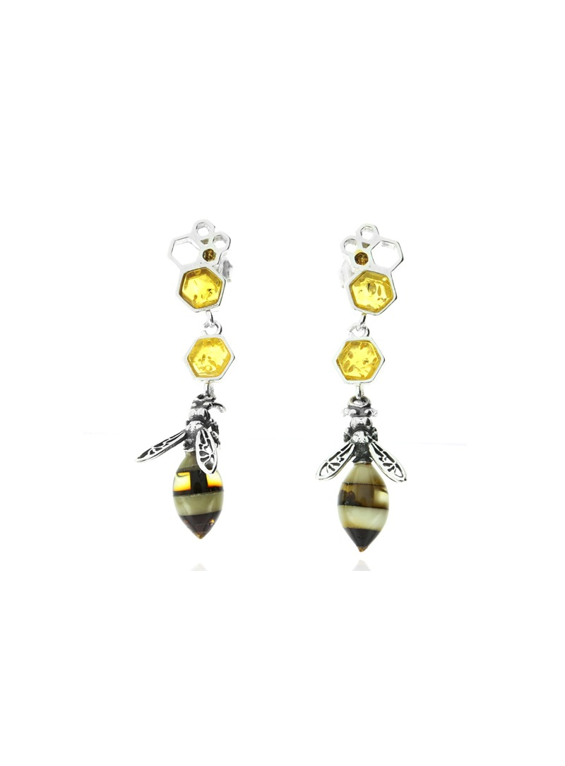 Home Bee earrings with amber - 1