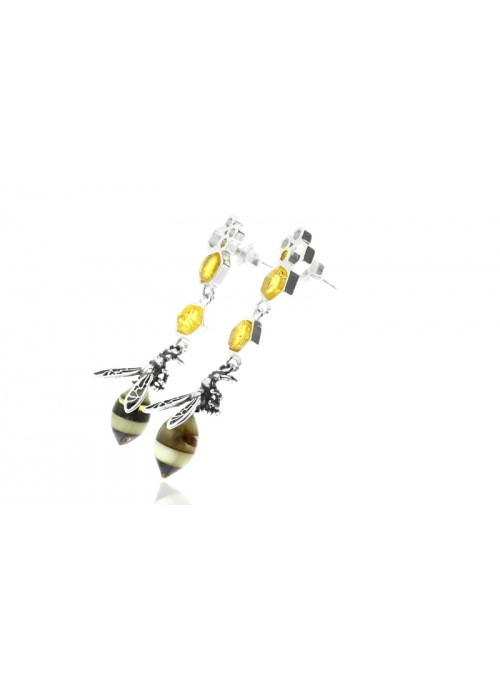 Home Bee earrings with amber - 2