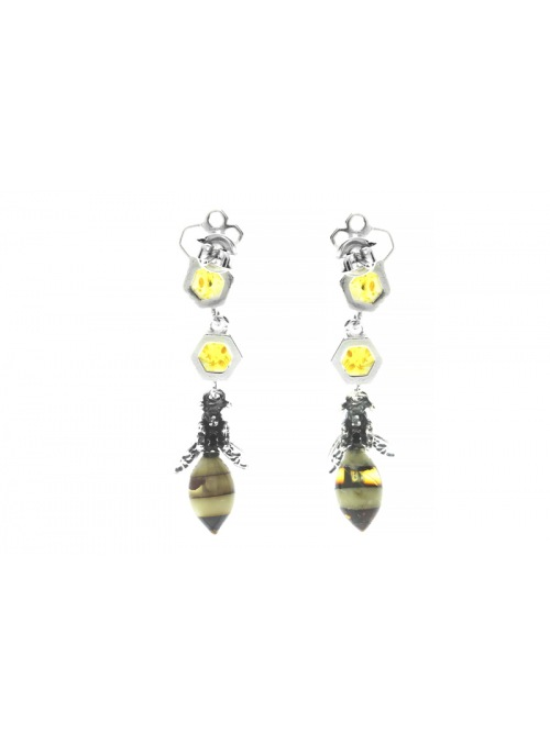 Home Bee earrings with amber - 3