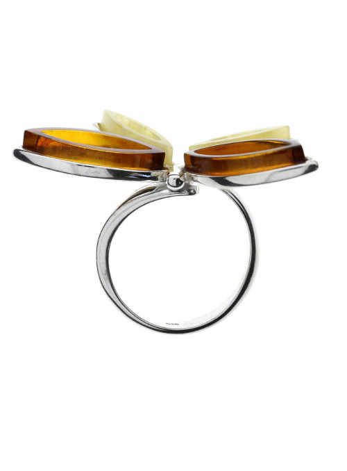 Home Butterfly ring with amber - 2