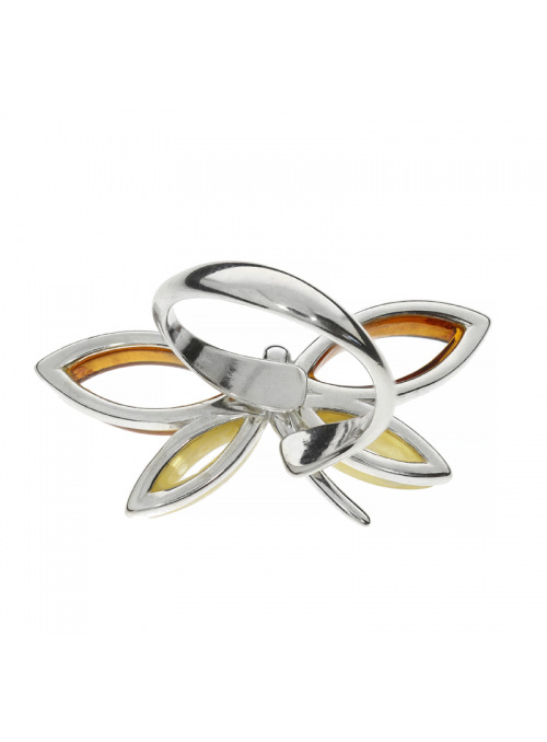Home Butterfly ring with amber - 3