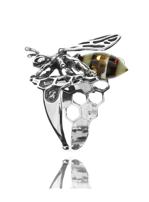 Home Bee ring with amber - 1