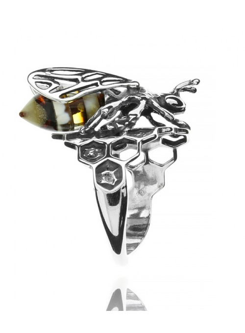 Home Bee ring with amber - 2