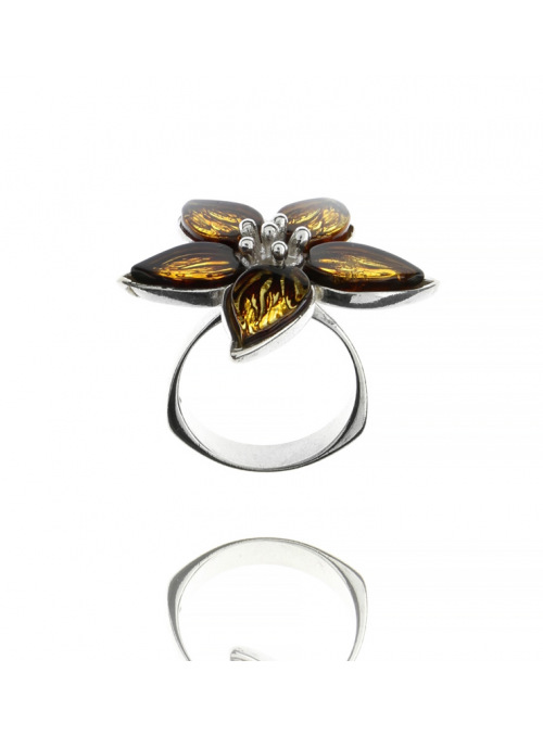 Home Flower ring with amber - 1