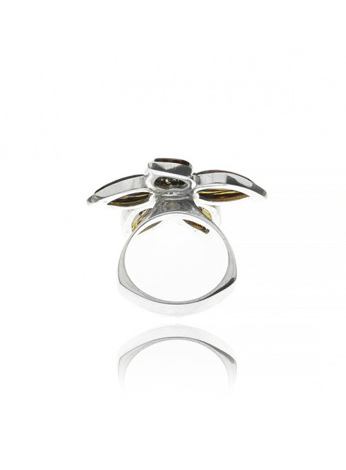 Home Flower ring with amber - 2
