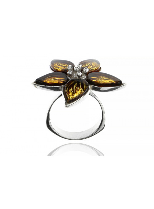 Home Flower ring with amber - 4