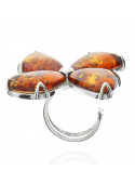 Home Flower ring with amber - 3