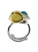 Home Ring with amber and turquoise - 1