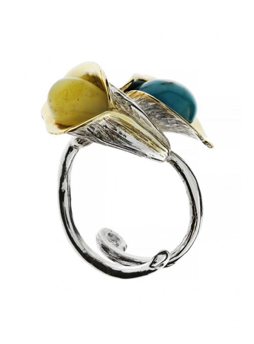 Home Ring with amber and turquoise - 3