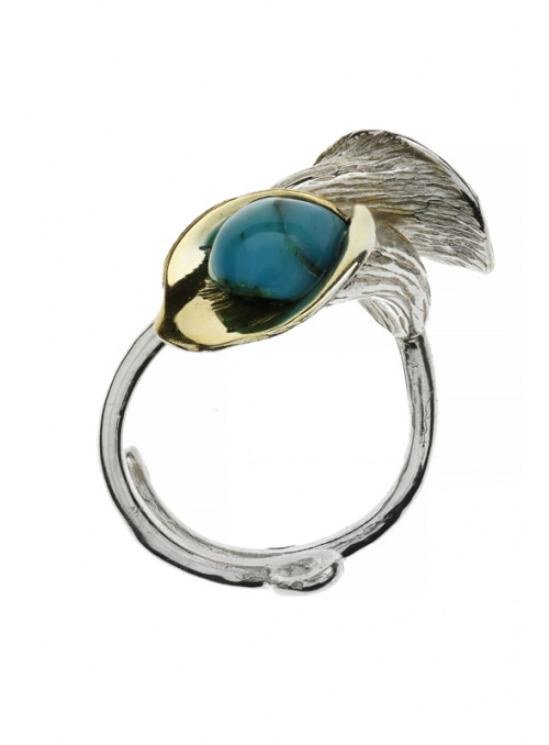 Home Ring with amber and turquoise - 4